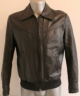 Mens Bomber Jacket 100% Black Leather Vintage Cafe Racer Motorcycle Retro S/M