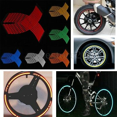 16 Strips Wheel Sticker Reflective Rim Stripe Tape Bike Motorcycle Car 16 17 18""