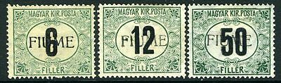 FIUME-December 1918 POSTAGE DUES Black & Green mounted mint Sg D29-31 V2406