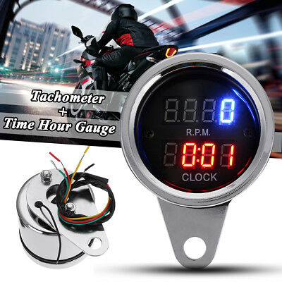 Motorcycle LED Dual Digital Tacho Tachometer Clock Hour Gauge Meter Waterproof