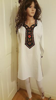 Kurti white and multicolour (Green Brown) Small Glass mirror embroidery