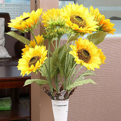 Big 1 Bunch has 3 Heads Artificial Sunflower Silk Flower Home Garden Party Decor