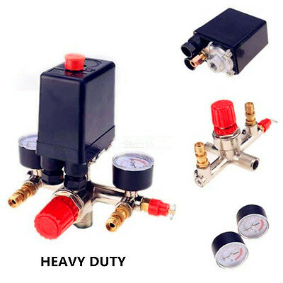 HEAVY DUTY Air Compressor Pump Pressure Control Switch With Valve Gauges