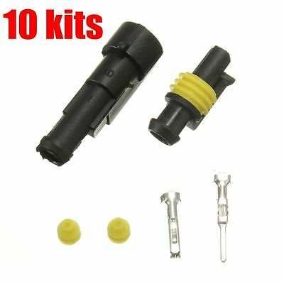 10 X Sealed Waterproof Electrical Wire Auto Connector Plug 1 pin Car Part Truck