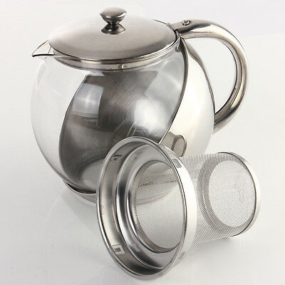 500/750/900ML Stainless Steel Glass Teapot With Loose Tea Leaf Infuser Silver