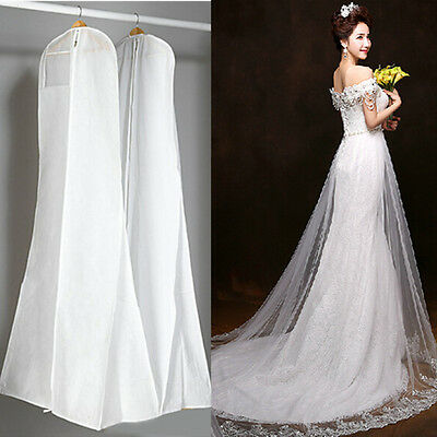 Breathable Wedding Dress Ball Gown Garment Travel Zip Bag Clothes Cover 72'' 6FT