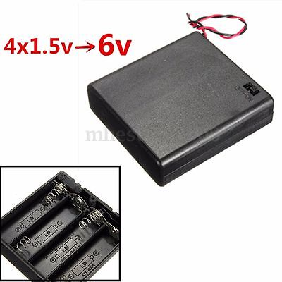 4 x AA 6V Battery Holder Connector Storage Case Box ON/OFF Switch With Lead Wire