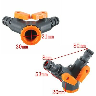 "3/4"" Garden Water Tap Hose Pipe 2-way Y Splitter Connector Adaptor On/Off Valve"