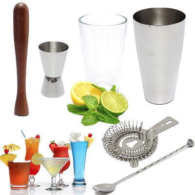6Pcs Stainless Steel Cocktail Shaker Mixer Drink Bars Bartender Set Tools Kit