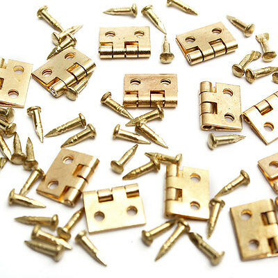 12pcs Mini Metal Hinges with Nails For 1/12 Miniature Furniture Dollhouse