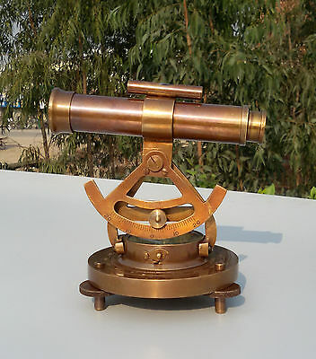 Vintage Brass Theodolite alidade telescope compass survey instrument Antique