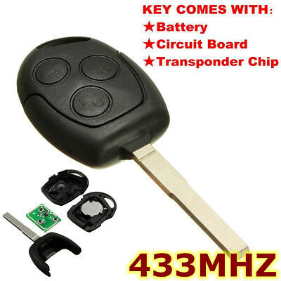 3Button Uncut Blade Remote Key Fob 433MHz Transponder Chip For Ford/Focus/Mondeo