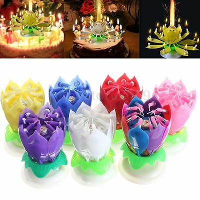 Double Candles Musical Lotus Flowers Lights Rotating Happy Birthday Party Gifts