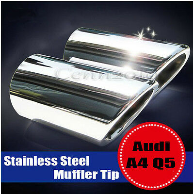 2x Stainless Steel Chrome Exhaust Tail Rear Muffler Tip Pipe For Audi A4 B8 Q5