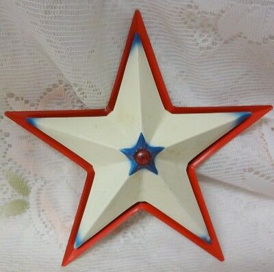 Vintage Metal American Color Red Blue White Star Christmas Tree Light Cover