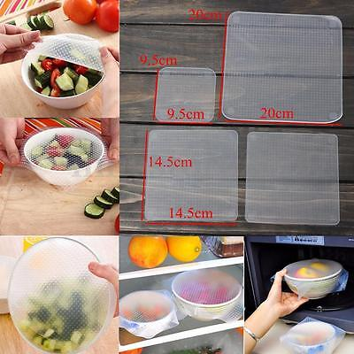 4Pcs Silicone Wraps Seal Cover Stretch Cling Film Keep Food Fresh Kitchen Tools