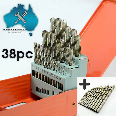 38 pcs HSS High Speed Steel Metric Drill Bit Set in Metal Case, 1mm - 13mm