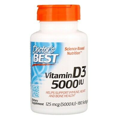 Doctor's Best Vitamin D3, 125 mcg (5000 IU), 180 Softgels