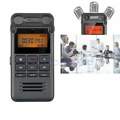 8GB Portable Digital Audio Voice Recorder Rechargeable Dictaphone MP3 With LCD