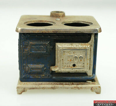 Antique Zoo Toy Salesman Sample Blue Nickel Cast Iron Cook Stove Doll House Toy
