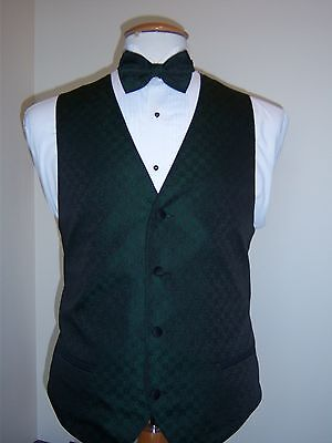 Hunter Green Formal Vest and Tie set - Tone on Tone Four Button Full Back Vest