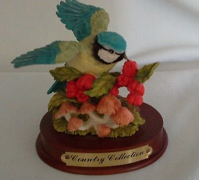 vintage BLUE BIRD bluebird COUNTRY COLLECTION raspberries mushrooms ornament vgc