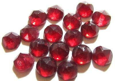 VINTAGE 3mm RUBY RED FACETED GLASS FLAT BACK RHINESTONE CABOCHON JEWEL LOT*S829