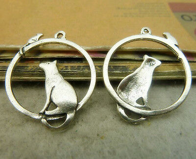 10pc Tibetan Silver Charms Mouse Cat Animal Pendant Findings Accessories P565P