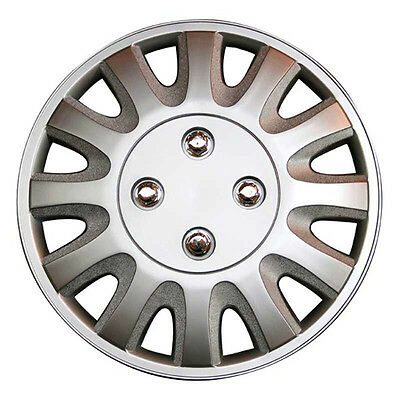 Motion 14 Inch Boxed Wheel Trim Set of 4 Silver Hub Caps Covers - TopTech