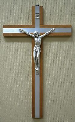 40cm Wall Crucifix, Metal Corpus, Wood Cross With Metal Inlay, Made in Italy