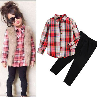 Toddler Kids Baby Girls Outfits Clothes Plaid T-shirt Blouse Tops+Pants 2PCS Set