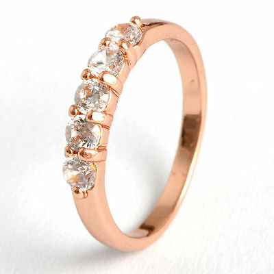 9K Rose Gold Filled Flawless Cubic Zirconia Fashion Wedding Rings New Style