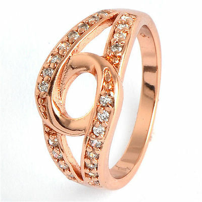 9K Rose Gold Filled Flawless Cubic Zirconia Fashion Wedding Rings New Woman
