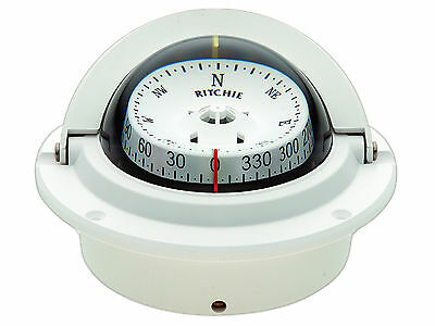 New F83w White Voyager Flush Mount Marine Power Boat Compass . Ritchie F-83w