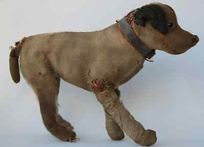 Ancienne peluche paille chien anglais de collection circa 1940 Old english Dog