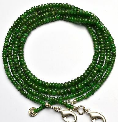 """Natural Gemstone Tsavorite Smooth 3-5Mm Rondelle Beads Necklace 64Cts. 16"""""""