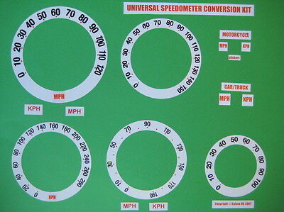 SPEEDO OVERLAY CONVERSION KIT STICKERS MPH or KPH WHITE  SPEEDOMETER DIALS