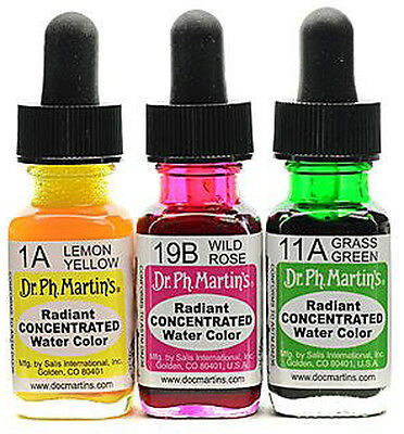 Dr Ph Martin's Radiant Concentrated Watercolours Inks - Individual 1/2oz Bottles