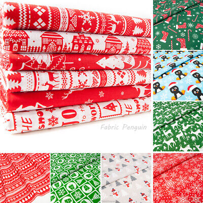 Christmas Fabric Red Blue Per Metre Half Fat Quarters Bundle Polycotton Remnants