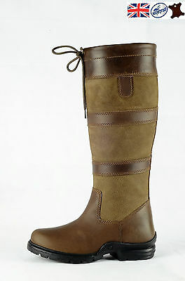 Womens Horse Riding Country Outdoor Boots Leather Waterproof Stable Yard Boot