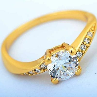 Lovely Gorgeous Vintage Fashion 9K Yellow Gold Filled CZ  Women Ring Size:6