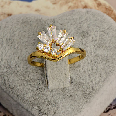 2016 Fashion Womens Cute Dazzling 9k Yellow Gold Filled White CZ Rings Size 7#