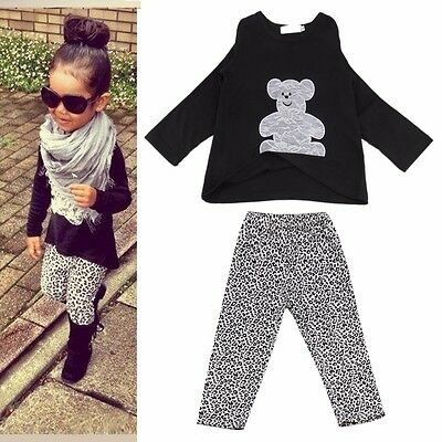 Toddler Kids Baby Girls Outfits Clothes Bear T-shirt Tops+Legging Pants 2PCS Set