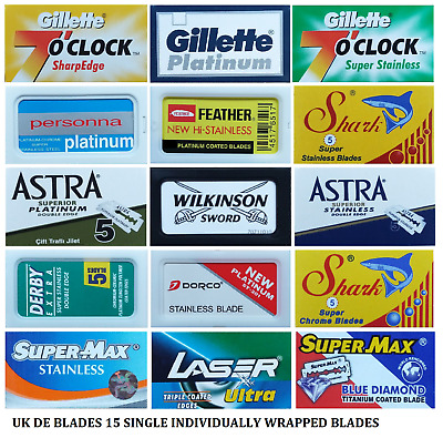 15 Double Edge Razor Blades Sample Pack UK DE BLADES  FEATHER mixed shaving mens
