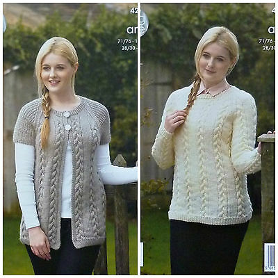 KNITTING PATTERN Ladies Long Cable Jacket and Cable Jumper Aran King Cole 4238