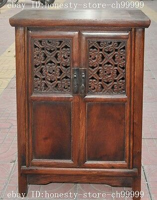 "23"" old china huanghuali wood carved Classical furniture Lockers Storage Cabinet"