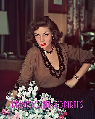 LAUREN BACALL 8X10 Lab COLOR Photo 1940s AMAZING & STUNNING PORTRAIT RARE