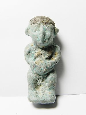 Zurqieh -Af47- Ancient Egypt Large Pataikos Faience Amulet. 600 - 300 B.c
