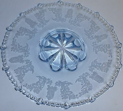 "PADEN CITY Elegant Depression GAZEBO PATTERN Etched BLUE COLOR 12"" Serving Tray"