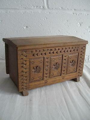 Antique Minature Carved Oak Coffer Or Jewellery Box
